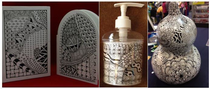 Zentangle® on Cardboard, Lotion Dispenser and Gourds