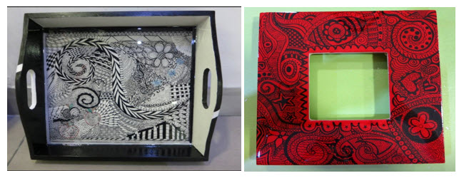 ZIA: Wooden tray covered with Ice resin and wooden frame painted with red acrylic paint