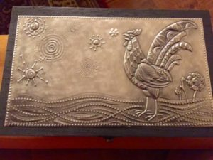 2015 02 04 Tangles on Pewter and a Rooster Stencil1