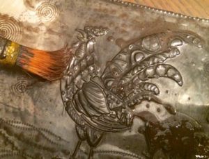 2015 02 04 Tangles on Pewter and a Rooster Stencil10